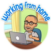 """Bitmoji cartoon showing Mike sitting at his computer with the words """"Working from home"""" above"""